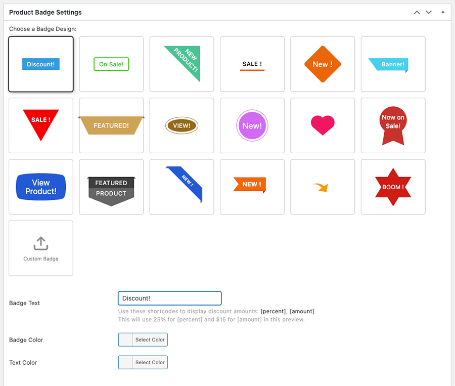 Product Badges for WooCommerce - Select a badge